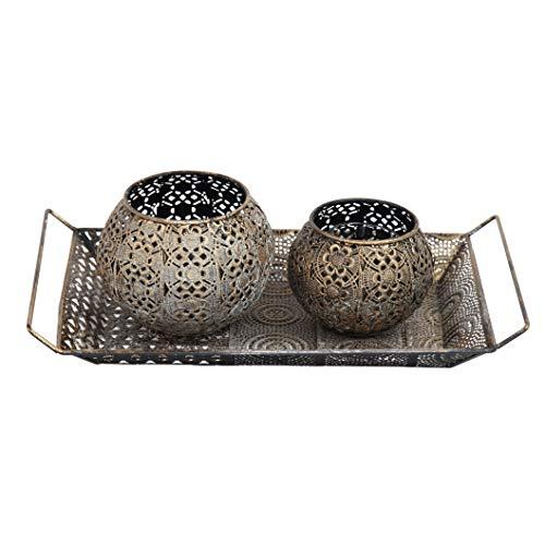 Flanacom Orientalische Vintage Teelichthalter Orientalisches Marokkanisches Windlicht antikfarben aus Metall - Dekoration für die Wohnung - 2 Windlichter ohne Tablett