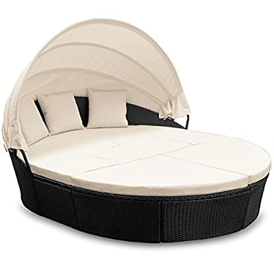 Sonneninsel Poly-Rattan oval 226cm schwarz mit Sonnendach Lounge von Deuba auf Gartenmöbel von Du und Dein Garten