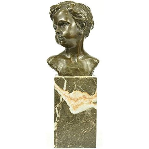 Escultura bronce estatua...Envío gratis...Arte Mármol Boy Retrato del busto de la decoración elegante Nr Clásica(XNBT-022-JP)Estatuas estatuilla estatuillas desnuda Oficina y Decoración del hogar Coleenta