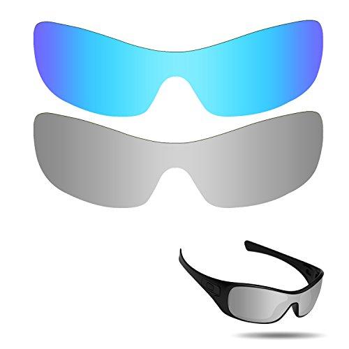 Fiskr Anti-Salzwasser polarisierte Ersatzgläser für Oakley Antix Sonnenbrillen 2 Stück, Ice Blue & Metallic Silver