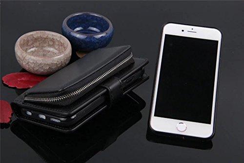 Große Menge Solid Color Uni Korn Leder Tasche Tasche mit Reißverschluss Sicherheit mit abnehmbarem Rücken Abdeckung für iPhone 6 & 6s ( Color : Rose ) Black