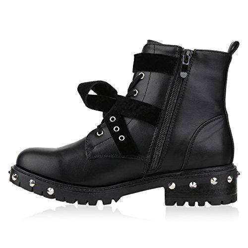 Damen Biker Boots Schnürstiefel Schnallen Nieten Stiefeletten Schwarz