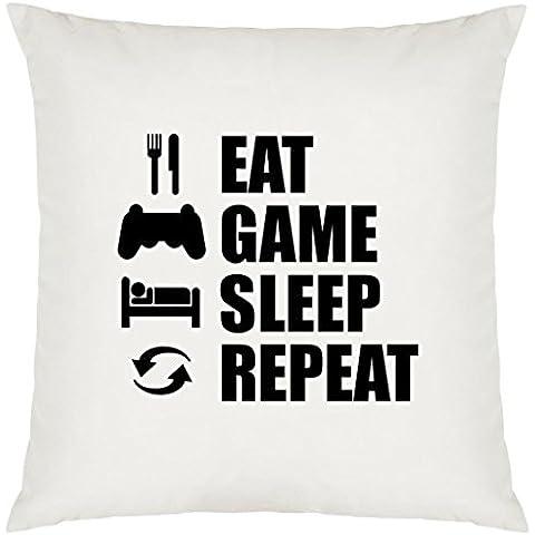 Eat Sleep juegos de repetición diseño grande funda de cojín con relleno