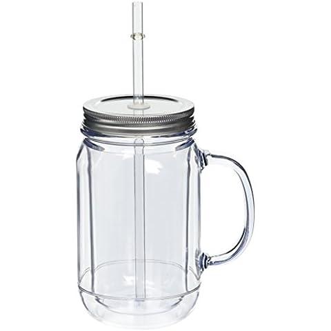 bar@drinkstuff DS30435 - Paquete de 4 jaras de doble pared de plástico, tapa y paja incluidos, transparente