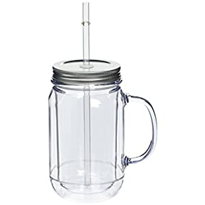 41yDy 4t2DL. SS300  - Pack of 4 Double Wall Plastic Mason Drinking Jar Glasses 16oz / 470ml | SAN Plastic Drinking Jars with Lid & Straw