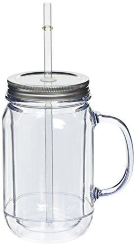4Stück doppelwandig Trinkgläser aus Kunststoff 470ml, SAN Trinkgläser aus Kunststoff mit Deckel und Trinkhalmen.