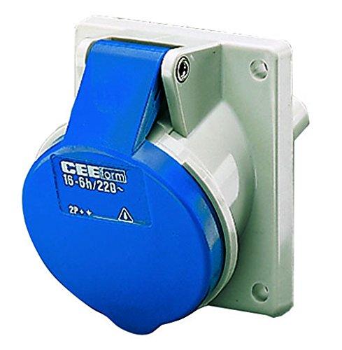 Mennekes 101100239 Bases Semi Empotrables CEE, Tomas de Corriente, 230 V, 50-60 Hz, 32 A, 3 Polos, IP 44, 92 mm x 100 mm Marco, Azul