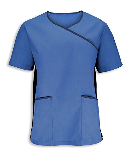 Alexandra stc-nm43mv-xxl Herren Stretch Scrub Top, Uni, 67% Polyester/33% Baumwolle, Größe: 2X Große, Metro Blau/Navy (Scrubs X 2 Top)