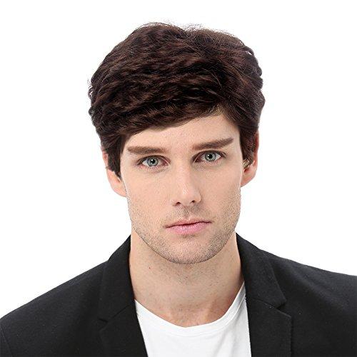 STfantasy Kurzer Braun Mann Perücken geschichtetes lockiges Haar für Männer männlich täglich verwendet Cosplay Kostümparty
