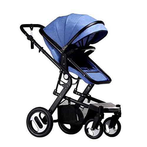 ZhiWei Kinderwagen Travel System Anti-Shock Federn Neugeborenen Kinderwagen Einstellbare Faltbare Kinderwagen Kinderwagen,Blue