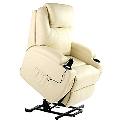 Cinemo Elecrtic Rise Recliner Leather Masseage Heat Armchair Sofa Lounge Chair by more4homes