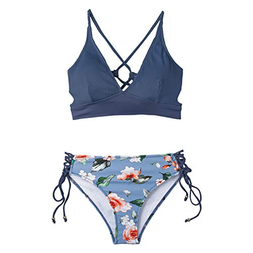 a7c70c8f14ea Sexy Blue and Floral Lace-Up Bikini Sets Women Boho V-Neck Two Pieces  Swimsuits Girl Beach Bathing Suit Swimwear Sky Blue L