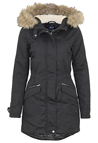 Only Damen Winterjacke Parka Kurzmantel (M, Black)