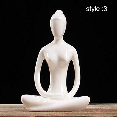 Soulitem - Estatua de Yoga, Color Blanco, de Porcelana, para Regalos, artesanía, 3