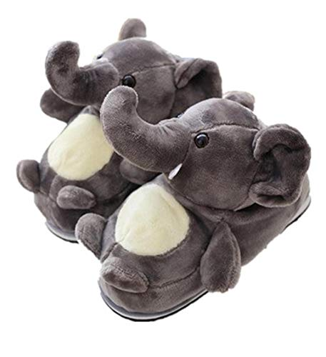 Winter Warm Elephant Slippers, 3D Cartoon Plush Animal Slippers Cotton Boots,Home Non-Slip Bedroom Shoes for Women or Men