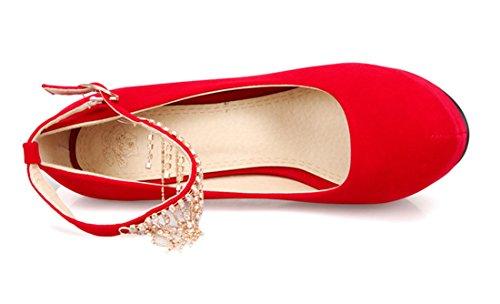 Sapatos Plateau Ye Fivelas Salto Brilhante Strass Elegantes Mulheres Stiletto Do Rodada Com Vermelho Superior Fechados Partido De E Tornozelo Das Bombas Alto Pn00SwcAaW