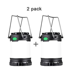 HAMSWAN Lanterne Camping Portable Lot de 2, Lamping Outdoor, 3 Modes de Luminosité 4 x AAA Batterie, Lanterne ideal pour Bivouac, Tentes, Maison, Camping, Chasse, Pêche, Randonnée (Lots de 2)