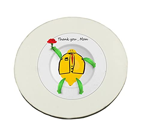 Circle Mousepad with This is one of Thank you Mom series for the coming Mother s Day. The image which depicts a white plate with the image which includes the word Thank you Mom and a cartoon character