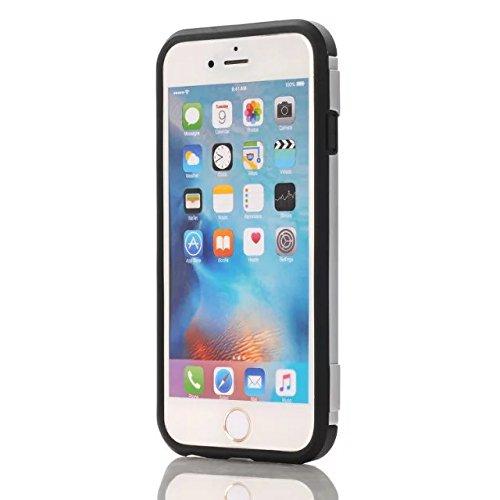 iPhone 7 Plus Coque, Lantier Refroidir design multifonctionnel Slim Fit Protection Dual Layer couverture portefeuille avec Béquille et emplacement de carte pour iPhone 7 Plus (5,5 pouces) gris Silver