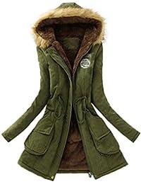 Cappotto Donna, Reasoncool Fashion Giacca Lungo Parka Con Cappuccio di Pelliccia Ecologica Coulisse Calda Maniche Lunghe -Caldo Inverno Cappotto