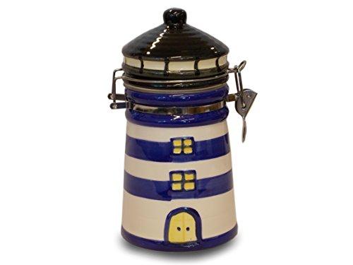 Unbekannt Maritimshop 60286 | Maritime Kaffee Dose Leuchtturm | Blau-Weiß Gestreift | Klein 600ml