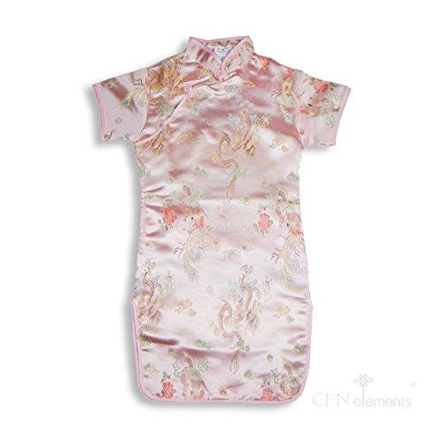 CHN Elements.clothing.kids - Abito - Stampa animalier - Maniche corte  - ragazza light pink w/dragon & phoenix pattern 8-9 Anni