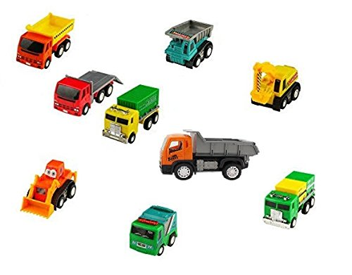 SuperToy Construction Vehicle Set 9 pcs - Dumper + JCB + Cement Mixer + Transport Truck + Garbage Truck+ Container + Crain - Unbreakable ABS Plastic Friction Powered Kids Automobile Toy Set - Assured