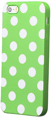 iCues Apple iPhone SE / 5S / 5 |  Polka Dots TPU Case Schwarz / Lila | [Display Schutzfolie Inklusive] Damen Frauen Mädchen Silikon Gel Motiv Muster Schutzhülle Hülle Cover Schutz Green