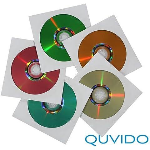 QUVIDO - Fundas de papel para CD/DVD/Blu-ray (100 unidades), color blanco