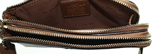 COACH Double Corner Zip Wristlet in Pebble Leather
