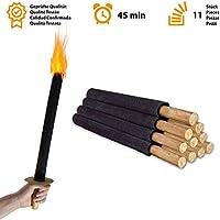 Avantina® 11 Fackeln | Hochwertige 45 Min. Wachs-Fackeln inkl. 11 x Handschutz | mit Extra Langem Griff Kinder Fackeln Spaß für Nachtwanderung