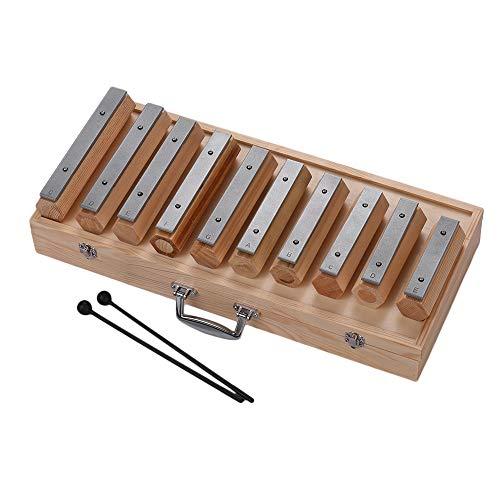 Muslady Glockenspiel 10 Note Xilofono Disconnect-type Design Strumento a Percussione per Educazione Musicale Allenamento del Ritmo con Custodia da Trasporto in Legno Mallets