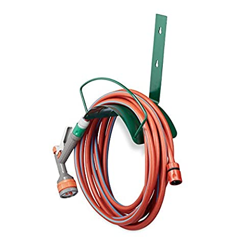 Relaxdays Wall Hose Holder, Metal, Wall Holder for 5/8 Inch (15 mm) Hoses, for 60 m Garden Hoses, Hose Hook, Green