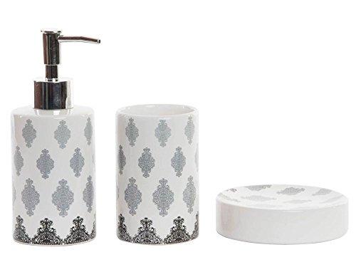 No800 Badezimmer SET 3 Teile Bad WC Garnitur Vintage Ornamente Grau weiß Porzellan Seifenspender Seifenschale Becher