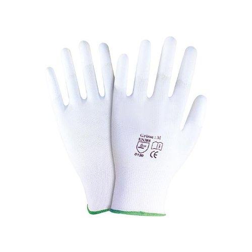 NITRAS 6210 Nylon-Handschuhe Arbeitshandschuhe Gartenhandschuhe PU-Fingerkuppenbeschichtung - VPE 12...