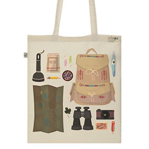 Tote Bag Imprimé Ecru - Toile en coton bio - Survival kit