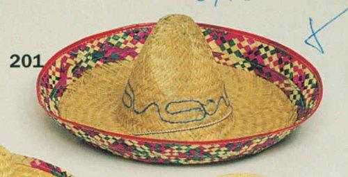 Hut: Sombrero, Stroh, naturfarben, bunter Rand