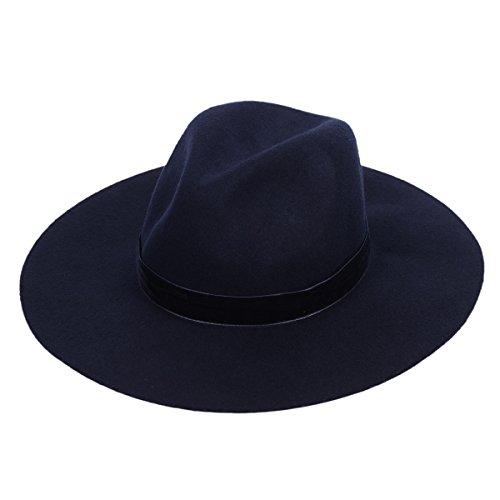 Fedora Hut 100% Wolle Filz Panama Frauen zerquetschte Mode-Stil mit breiten Zirkel schick Hutband reißgeformt Krone (Roter Ara Kostüm)