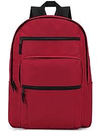 Plambag Basic Daily Backpack Classic Waterproof Lightweight Laptop School Bag (Red)