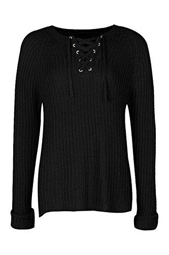 Noir Femmes Hallie Lace Up Rib Knitted Jumper Noir