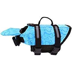 Perro chaleco salvavidas con flotador para la barbilla, mogoko perro chaleco salvavidas Chaleco protector seguridad para mujer (con reflectante rayas/ajustable cinturón para más tamaño Perros, color azul, tamaño small