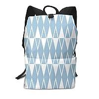 Mid Century Modern Diamond Pattern Pale Blue Casual Laptop Backpack School Backpack Rucksack Bags for Men Women Kids Boys Girls