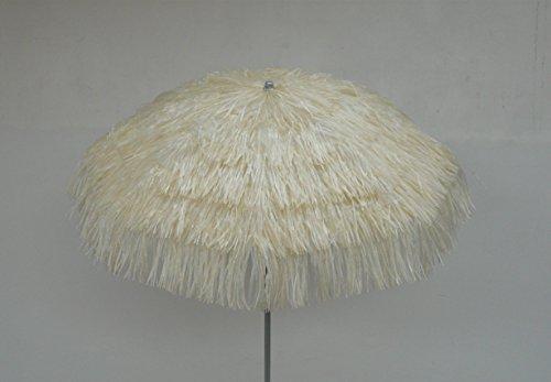 Maffei art 6 kenia, ombrellone rotondo diametro cm 200, ricoperto con rafia, made in italy. colore ecru