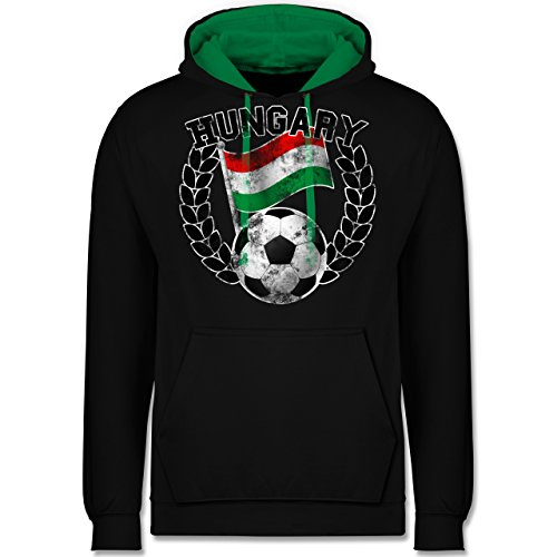 Fußball - Hungary Flagge & Fußball Vintage - Kontrast Hoodie Schwarz/Grün