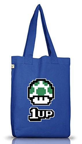 Geek Nerd Gamer Pixel Jutebeutel Tasche Terra Positivo Retro Gamer 1 Su Pilz Blu Brillante
