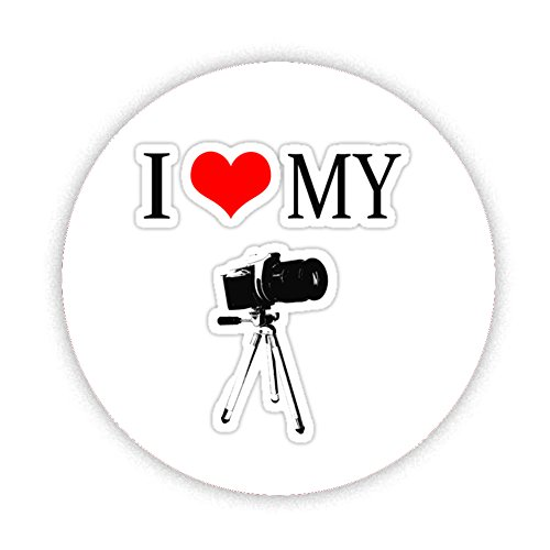 Price comparison product image I LOVE MY CAMERA & TRIPOD Button Badge 38mm Small Pinback Pin Back Lapel Novelty Gift