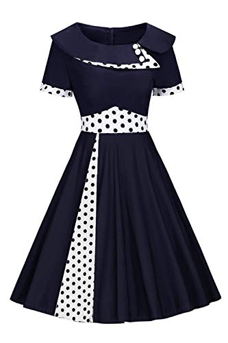 MisShow Robe de Cocktail Courte Chic au Genou Robe Femme Vintage Rockabilly Pin up Swing Plissée Asymétrique Bleu Marine L