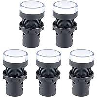 "sourcing map Luces indicadoras de AC 380V LED blanco Montaje en panel empotrado 7/8"" 22 mm 5Pcs"