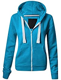 NEW LADIES WOMENS PLAIN HOODIE HOODED ZIP TOP ZIPPER SWEATSHIRT JACKET COAT Turquoise UK 12 / AUS 14 / US 8