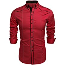 b49cd523563b6 COOFANDY Camisa Casual Hombre Manga Larga de Vestir Color Contraste de Moda